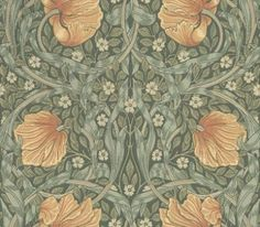 Pimpernel by William Morris. Pimpernel has a mirrored symmetry and wild, windblown flower heads as is typical of Morris' design, in beige and russet with green leaves on a dark green background. William Morris Wallpaper, Morris Wallpapers, Art Nouveau, Wallpaper Samples, Pattern Wallpaper, Foyer Wallpaper, Motifs Textiles, Classic Wallpaper, Dark Green Wallpaper