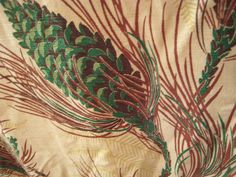 Vintage pinecone barkcloth from an auction at Twitchell Lake.