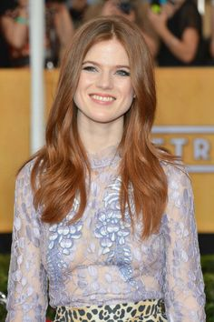 Rose Leslie at the 2014 Screen Actors Guild Awards.  Hair by Davy Newkirk.  Makeup by Monika Blunder for Dior.