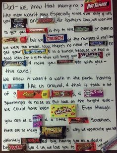 Father's Day Candy Letter-Kids made one of these for Father's Day and he said it was hands down the best present ever-funny, cheap, and really useful! Fathers Day Post, Fathers Day Letters, Funny Fathers Day Card, Fathers Day Crafts, Cheap Fathers Day Gifts, Candy Letters, Just In Case, Just For You, Candy Board