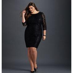 Avenue Sequin Lace Sheath Dress ($100) ❤ liked on Polyvore featuring dresses, black, plus size, plus size special occasion dresses, plus size evening dresses, long cocktail dresses, lace cocktail dresses and long sequin dress