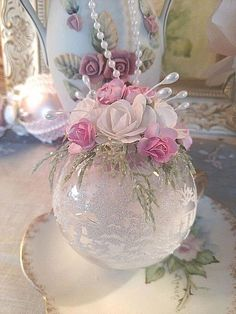Shabby Cottage Victorian Chic Pink Rose Handmade Christmas O… – Crafts Ideas Shabby Chic Christmas Ornaments, Christmas Ornaments To Make, Pink Christmas, Handmade Christmas, Christmas Tree Decorations, Holiday Crafts, Christmas Wreaths, Handmade Ornaments, Handmade Crafts