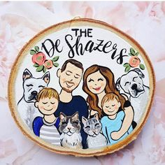 Pre Order, Small family portrait wood slice, to personalized custom painting, to be shipped November 2019 Wood Ornaments, Personalized Christmas Ornaments, Xmas Ornaments, Christmas Crafts, Wood Crafts, Diy And Crafts, Crafts For Kids, Arts And Crafts, Family Portraits