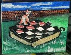 Cats Playing Checkers, My cats Neptune and Luna enjoying a casual game of chess. Cats Playing, Local Artists, Art Music, Chess, Original Artwork, My Arts, Greeting Cards, Candles, Game