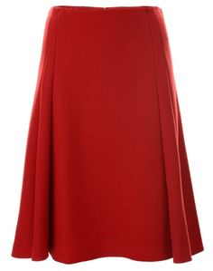 Red Flared Wool Skirt
