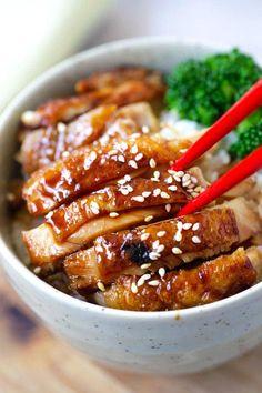 Chicken Teriyaki (The BEST and Authentic Recipe!) - Rasa Malaysia , Chicken Teriyaki – learn how to make teriyaki sauce and chicken teriyaki that taste like the best Japanese restaurants. Best Teriyaki Chicken Recipe, Chicken Teriyaki Rezept, Chicken Recipes, Teriyaki Sauce, Recipe Chicken, Soy Sauce, Chicken Sauce, Shrimp Recipes, Easy Delicious Recipes