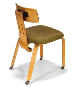 Alvar Aalto; Rare Desk chair. Designed 1947-48; manufactured 1947-57 Laminated birch, upholstery and metal casters, Artek.