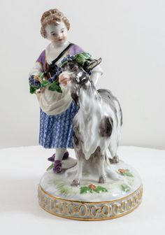 Meissen Figure of Girl with a Fruit Basket and Goat