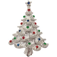 Gerry's Silver Tone Christmas Tree Pin -- found at www.rubylane.com @rubylanecom