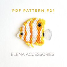 Butterfly fish Reef tropical fish brick stitch peyote brooch necklace PDF pattern miyuki delica & toho tresure seed bead animals pattern - DIY Projects for the Home 2020 Bead Embroidery Patterns, Seed Bead Patterns, Beaded Bracelet Patterns, Beaded Embroidery, Beading Patterns, Mosaic Patterns, Color Patterns, Beaded Bracelets, Art Patterns