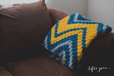 Crochet Pattern Verticle Chevron Blanket. Instant by lifesyarn
