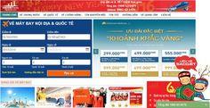 Giao diện trang chủ của hệ thống đặt vé thông minh tại Sacojet.vn