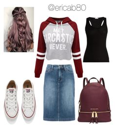 Me Sarcastic? Never.. by ericab80 on Polyvore featuring polyvore fashion style WithChic Skin NYDJ Michael Kors Converse clothing