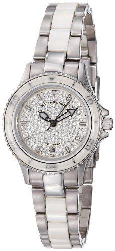 Stuhrling Original Women's 250.12EP2 Astera Swiss Quartz Date Swarovski Crystal Two Tone White Watch: Disclosure: affiliate link