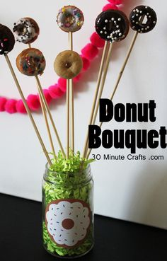 Make a doughnut bouquet to give to someone special, or use as a centerpiece at a donut party!