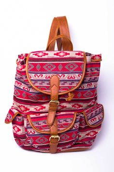 red tribal backpack.