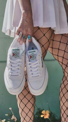 Reebok Classics Club C85 sneakers in white & green. #alwaysclassic | Pic by Reebok