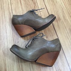 "Kork-Ease tan leather booties Kork-Ease ""Helene"" tan booties.  Smooth full-grain leather shapes a versatile chukka heel. Comfortable cushioned leather footbed. Lace-up.  Heel Height: 2 inches Never worn. Brand new condition.  Size 7 Kork-Ease Shoes Ankle Boots & Booties"