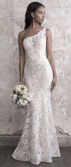 Madison James - one shoulder wedding gown #weddingdress #weddinggown #bride #bridalgown #beach wedding #dress #weddinggowns