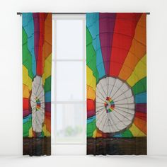 """Your drapes don't have to be so drab. Our awesome Window Curtains transform a neglected essential into an awesome statement piece. Featuring a single-sided print with a reverse white side.     - Dimensions: 50"""" (W) x 84"""" (H)   - Available in single or double panel options   - Crafted with 100% lightweight polyester, blocks out some light   - 4"""" hanging pocket for easy hanging on any rod   - Single side print on front with reverse white side   - Machine wash cold, tumble dry low Window Curtains, Wall Prints, Rainbow, Windows, Graphics, Cold, Quilts, Pocket, Awesome"""