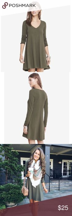 Express v-neck long sleeve trapeze dress! This dress is just so easy breezy! I styled it just like the picture, with a scarf and knee high suede boots. Features long sleeves with a trapeze shape. Straight hem. Cotton/modal/spandex. Perfect condition! Express Dresses Mini
