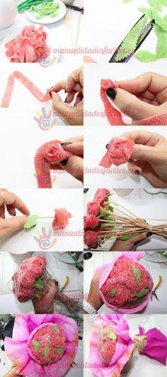Ramo de rosas de chuches