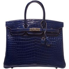 Pre-Owned Hermes Blue Sapphire Shiny Porosus Crocodile Birkin 35cm ($57,775) ❤ liked on Polyvore featuring bags, blue, preowned bags, locking zipper bag, hermes bag, zip lock bags and hardware bag