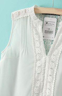 New Fashion Ladies' elegant lace spliced white chiffon blouse shirt sleeveless office lady shirt casual slim brand design