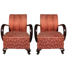 Pair French Art Deco Curved Arm Solid Walnut Club Chairs