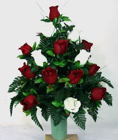 XL Beautiful Summer Red And White Roses Cemetery Flowers for a 3 Inch Vase *** Visit the image link more details.