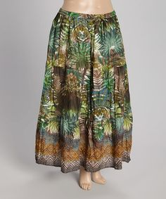 Another great find on #zulily! Green & Brown Jungle Maxi Skirt - Plus by Jane Ashley #zulilyfinds