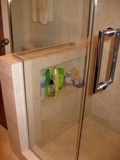 a shelf in a shower