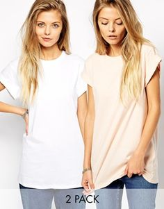 asos 2-pack boyfriend rolled sleeve tee $30 for both.