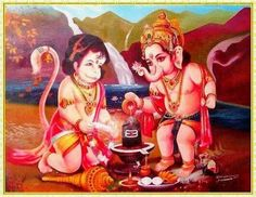 Hanuman and Ganesh performing prayer to Shiva Lingam