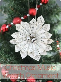 Christmas music wreath ornament with jingle bells - because everything is better with jingle bells!