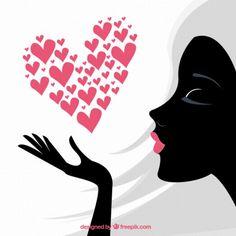 Women day card with black woman silhouette Heart Art, Love Heart, Clock Face Printable, Black Woman Silhouette, Cartoon Clip, Rhinestone Art, Valentines Art, African Art, Ladies Day