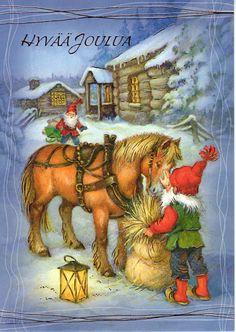 Christmas - Finland, Gnome with Horse snow fairy elf sleigh wheat snow tree lantern night Swedish Christmas, Old Christmas, Christmas Gnome, Scandinavian Christmas, Vintage Christmas Cards, Christmas Pictures, Beautiful Christmas, Vintage Cards, Illustration Noel