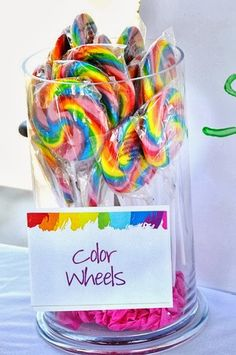 Art party color wheels rainbow lollipps