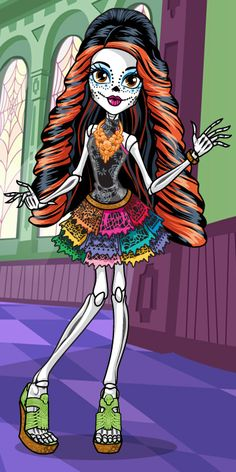 Hey, I am Skelita Calaveras and I'm proud of my heritage and freaky fabulous colorful style. I love my GFF's, so check out student bios for Monster High students Clawdeen Wolf and Jinafire Long! Cumple Monster High, Monster High Art, Monster High Dolls, Ever After High, Skelita Calavera, Homemade Face Paints, Homemade Paint, Kawaii 365, Personajes Monster High