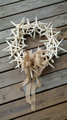 Beach Wreath with White Pencil Star Fish and Burlap Bow... very Beachy