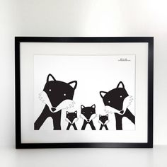 Fox Family Selfie Print