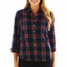 jcp™ Plaid Long-Sleeve Shirt - JCPenney