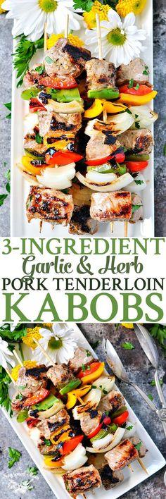 These 3-Ingredient Garlic and Herb Grilled Pork Tenderloin Kabobs make a light 20-minute dinner for warm summer evenings!