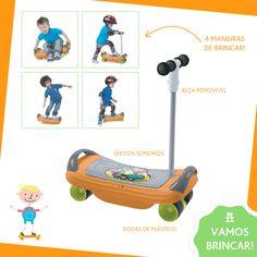 Diversão garantida! 3 produtos em 1 para desenvolver o equilíbrio progressivo do seu filho.  Para as crianças a partir de 18 meses, ele pode ser usado como uma balança, que oferece estímulos sonoros para brincar em segurança com equilíbrio. Aos 2 anos de idade, ele pode ser transformado em um patinete e aos 3 anos de idade, torna-se um skate de corrida!