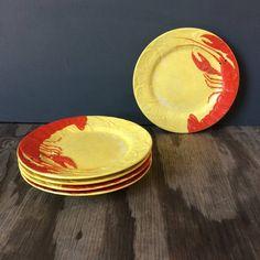 Maruhon Ware Crawdad Plates - Made in Japan Etsy Vintage, Vintage Items, Glaze, Seafood, Chips, Japan, Tableware, Fresh, Color