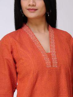 Orange Embroidered Cotton Kurta Silk Kurti Designs, Salwar Neck Designs, Churidar Designs, Kurta Neck Design, Kurti Designs Party Wear, Kurta Designs Women, Sleeves Designs For Dresses, Neck Designs For Suits, Dress Neck Designs