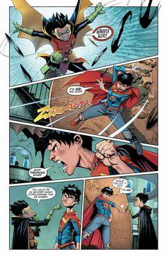 Super sons issue 5 Ship it so badly~ Dc Comics Characters, Dc Comics Art, Marvel Dc Comics, Robin Comics, Batman Y Superman, Batman Robin, Damian Wayne, Super Sons, Comic Style
