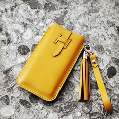 Handmade Leather Phone case in Yellow / Wallet / Hand by wolike, $39.00