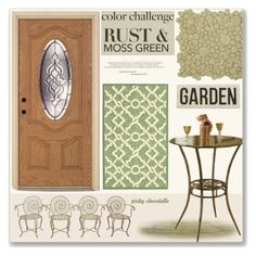 """#126 Color Challenge - Moss Green & Rust: 30/09/15"" by pinky-chocolatte ❤ liked on Polyvore featuring interior, interiors, interior design, home, home decor, interior decorating, Merola, Hillsdale Furniture, Nourison and HomArt"