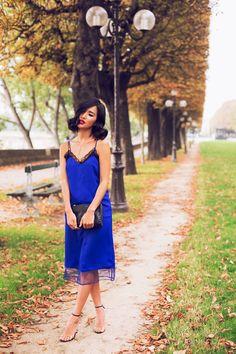 cobalt blue slip dress with ankle strap sandals